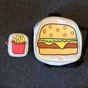 Hamburger and fries backpack and wallet set